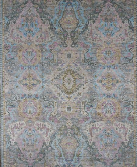 Traditional hand-knotted area rug with light blue features.