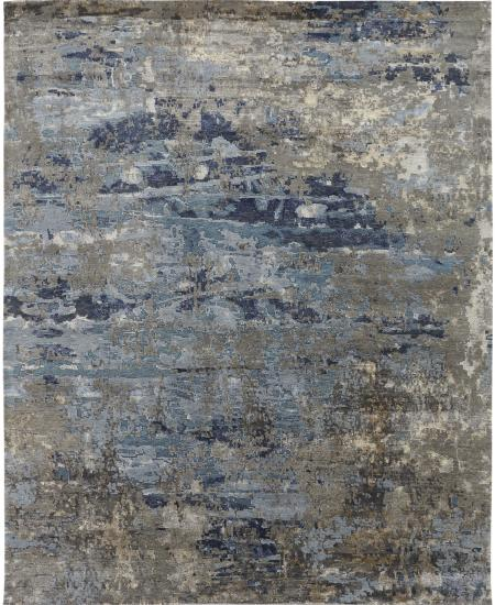 Contemporary abstract hand-knotted area rug.