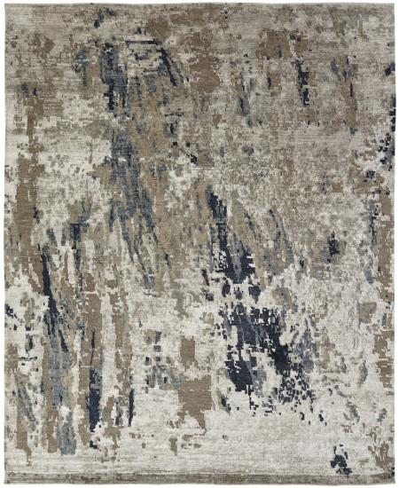 Modern abstract hand-knotted area rug in browns and black.