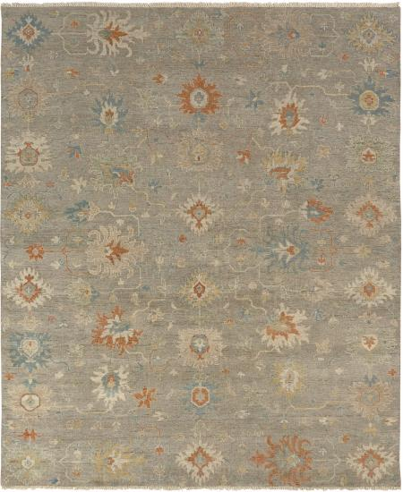 Hand-knotted area rug: Oushak design.