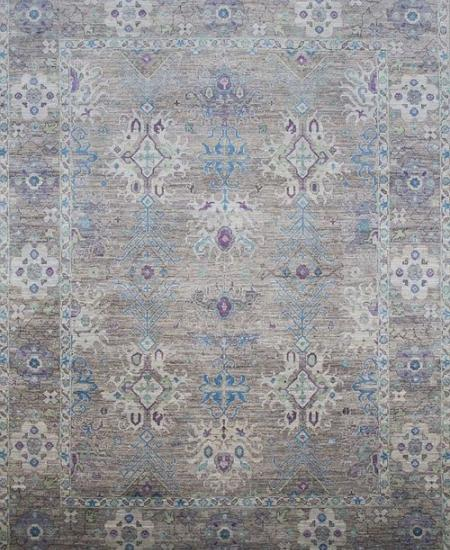 Traditional taupe hand-knotted rug with sky blue accents.