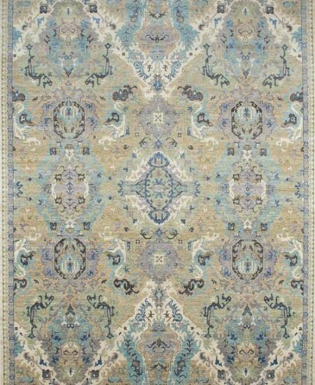 Traditional hand-knotted rug with thin border.
