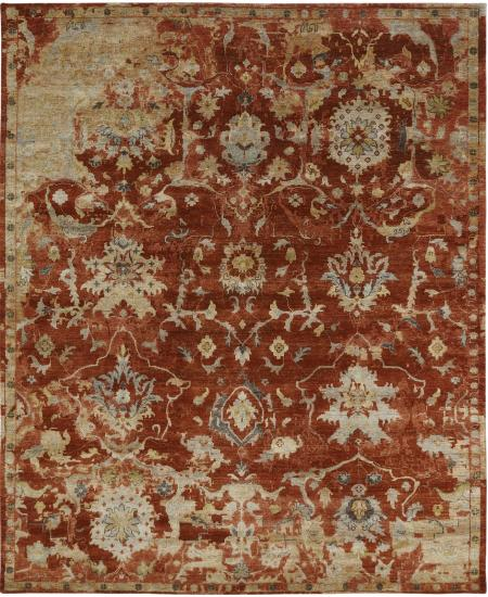 Antiqued hand-knotted traditional rug in red.