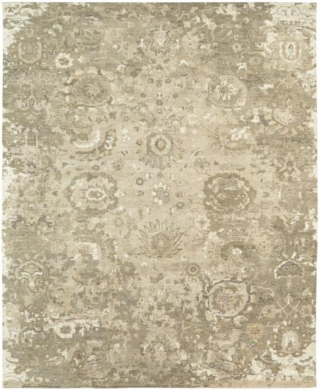 Transitional hand-knotted area rug in light brown