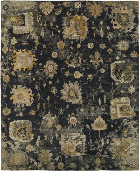 Traditional black hand-knotted rug with Oushak elements.