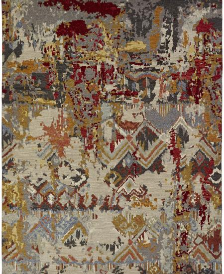 Hand-knotted contemporary rug with burgundy accents.