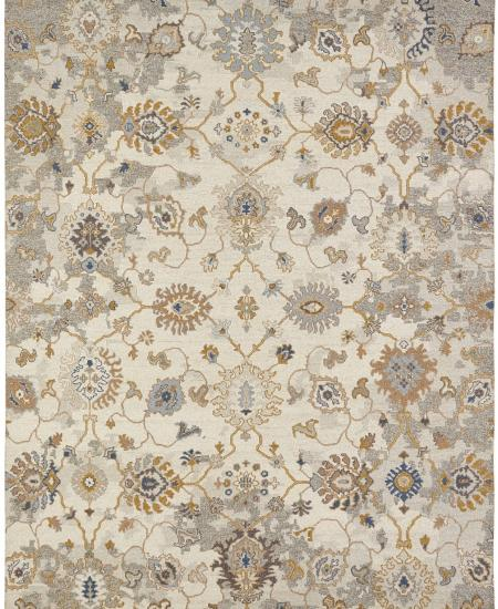 Traditional hand-knotted area rug in vine pattern.