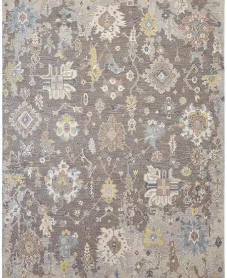 Traditional hand-knotted area rug in neutral gray and taupe.