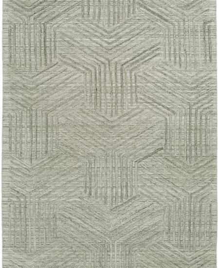 Hand-knotted area rug in intriguing geometric design.