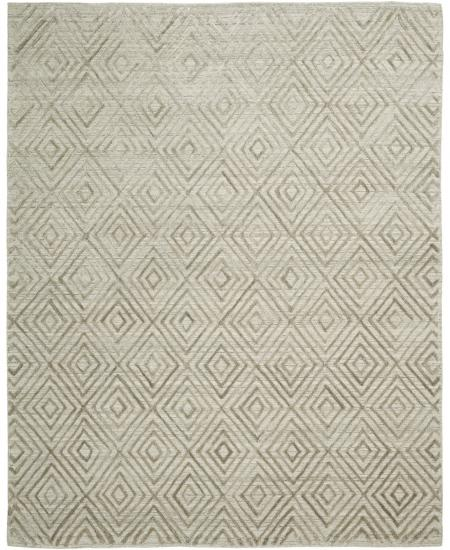 Hand-knotted area rug in traditional geometric pattern.