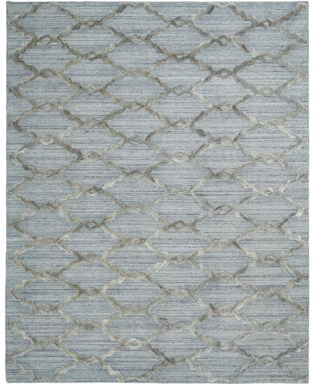 Transitional hand-knotted area rug in rope net pattern.