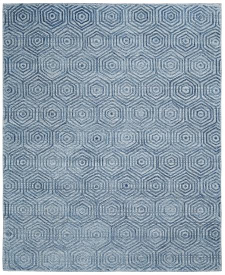 Hand-knotted area rug with all-over hexagonal pattern.
