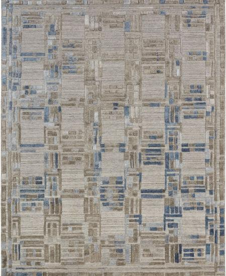 Creative weaving pattern in taupe and blue - hand-knotted area rug